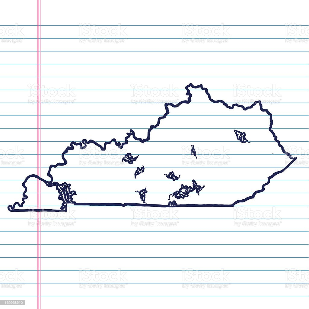 Vector Sketchy Map on White Lined Paper Background. Kentucky. royalty-free stock vector art