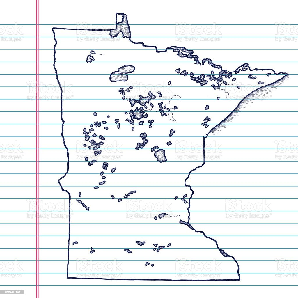Vector Sketchy Map on White Lined Paper Background. Minnesota. vector art illustration