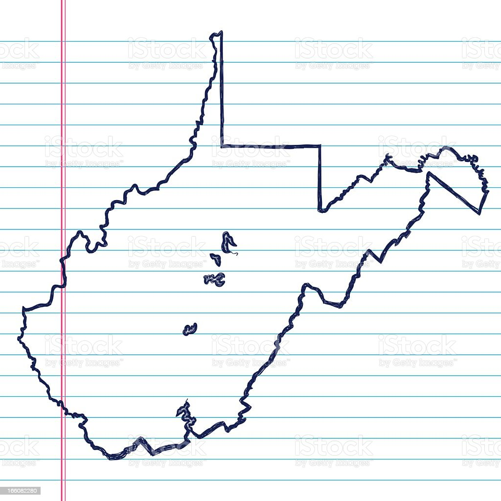 Vector Sketchy Map on White Lined Paper Background. West Virginia. royalty-free stock vector art