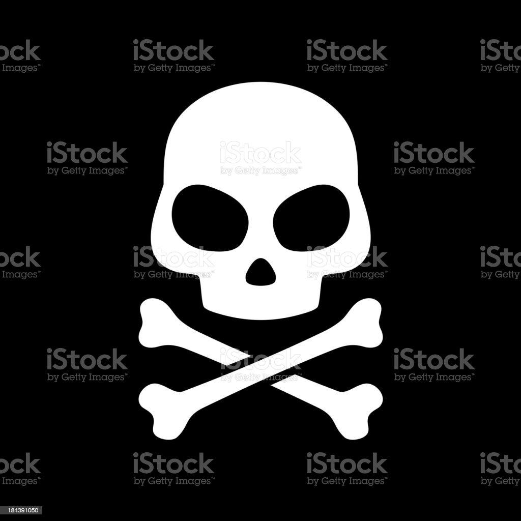 Vector skull on black background vector art illustration