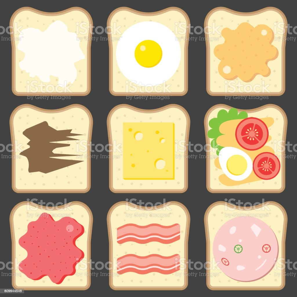 Vector sliced bread with bread spreads vector art illustration