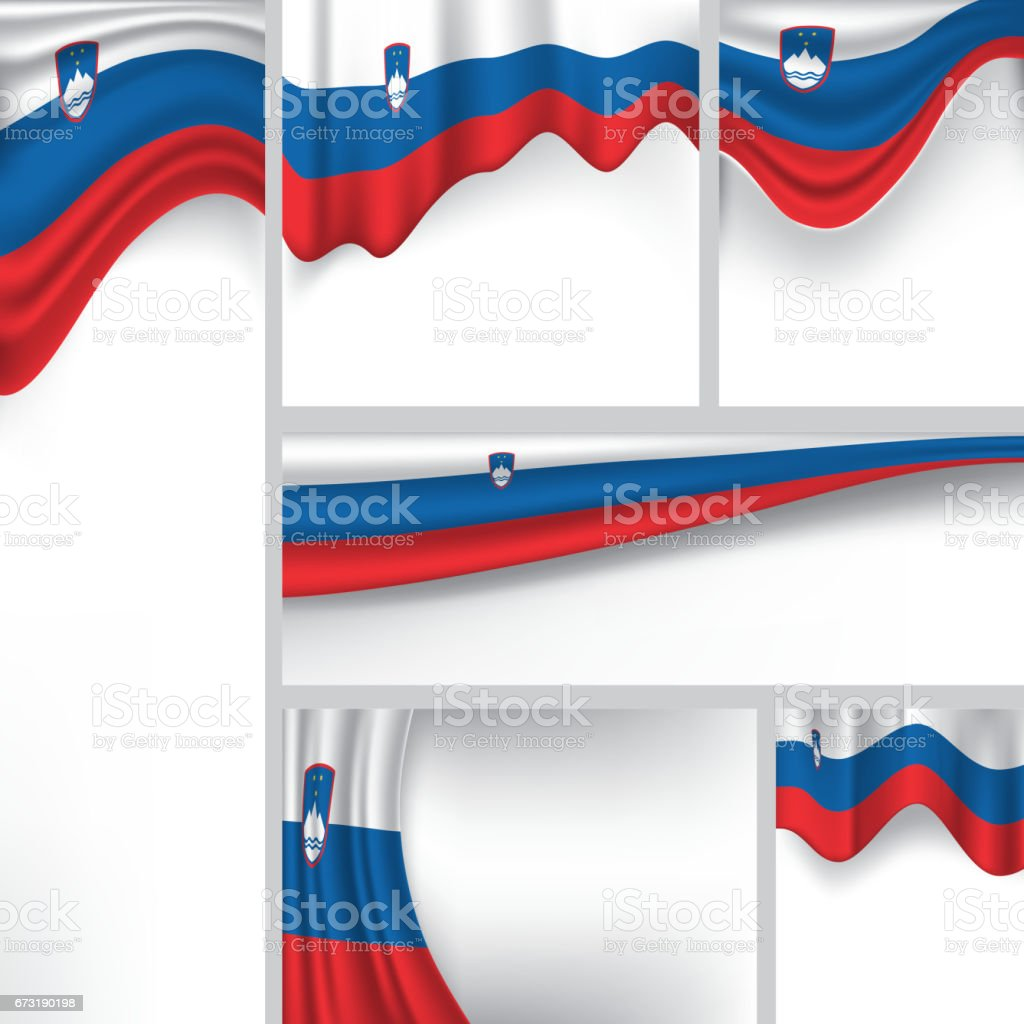 Vector Slovenia Flag, Slovenian Colors (Vector Art) vector art illustration