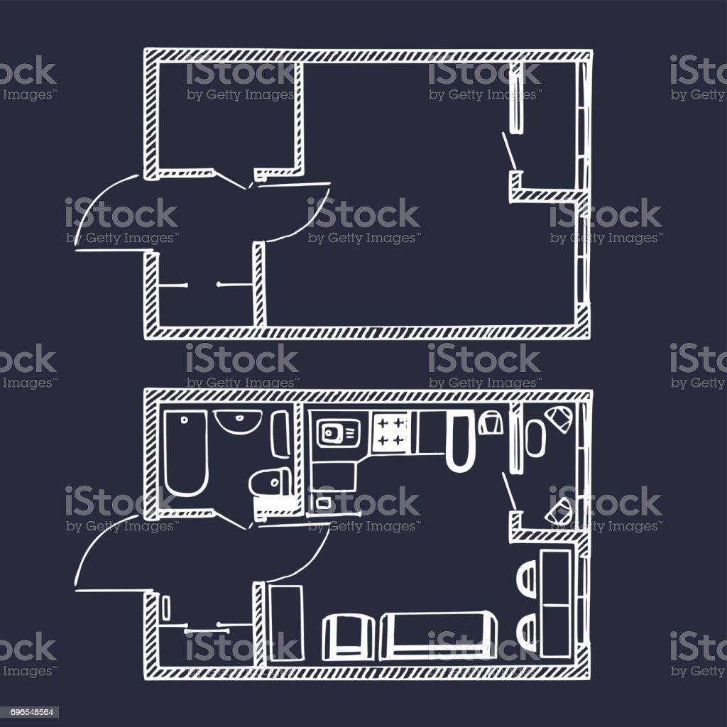 vector small apartments floor plan in sketch style rooms top view vector small apartments floor plan in sketch style rooms top view with and without furniture