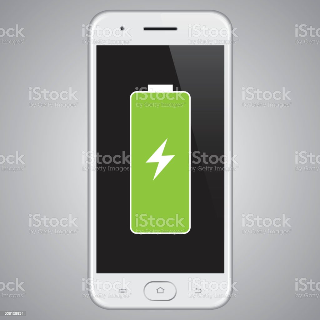 Vector smartphone Full Battery. vector art illustration