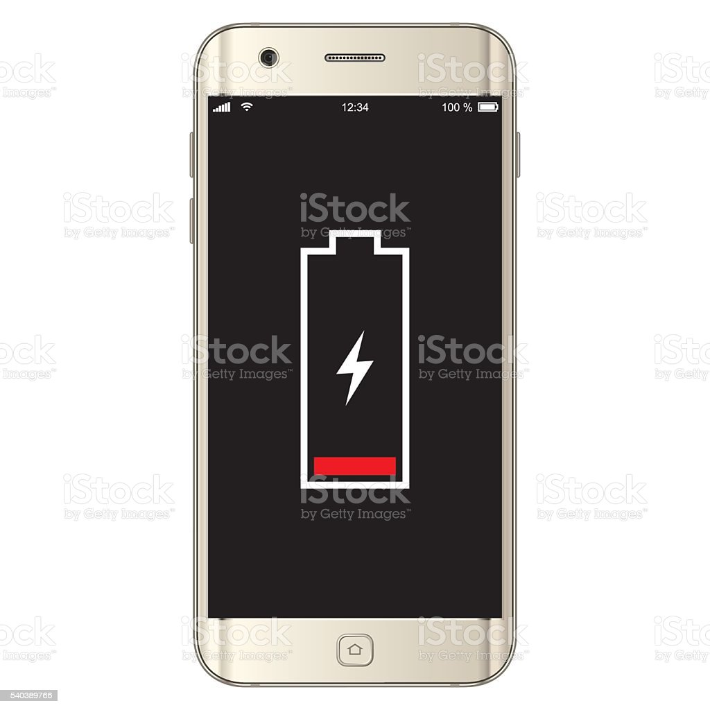 Vector Smartphone Low Battery vector art illustration