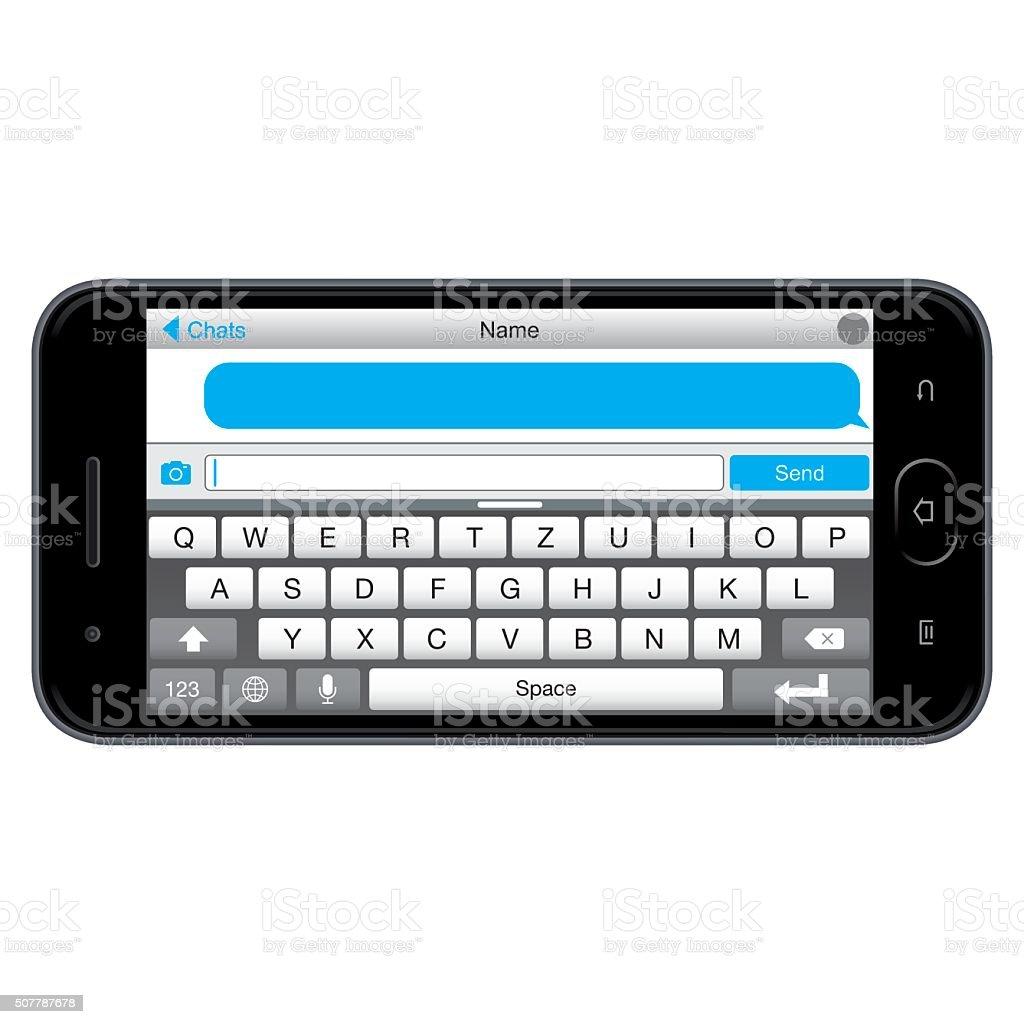Vector Smartphone with Message Screen vector art illustration