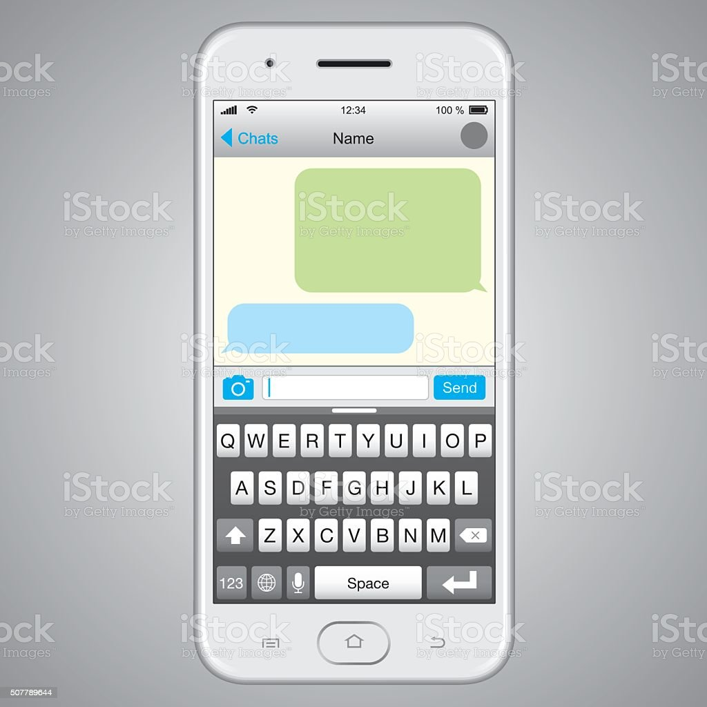Vector Smartphone with Message Screen vector art illustration