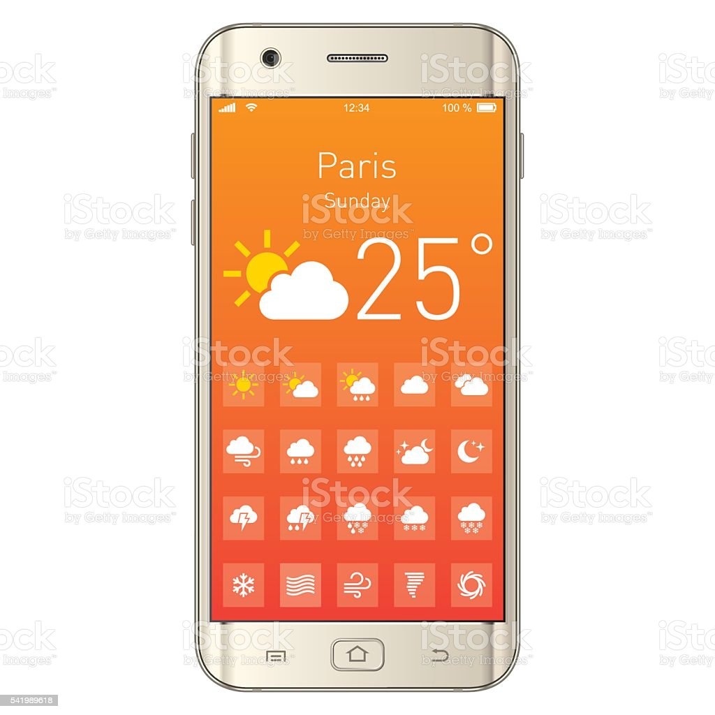 Vector Smartphone with Weather App vector art illustration