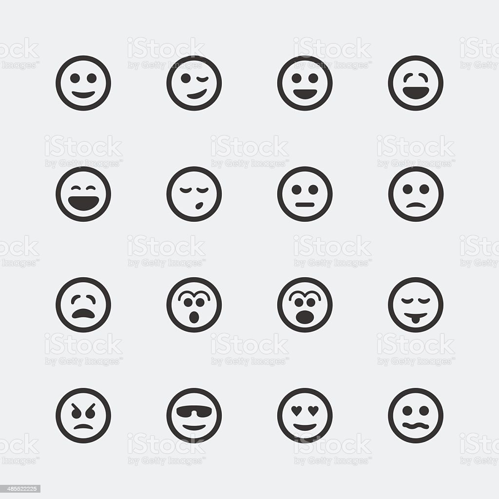 Vector smile mini icons set vector art illustration