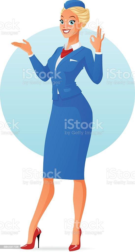 Vector smiling flight attendant presenting and showing ok gesture vector art illustration