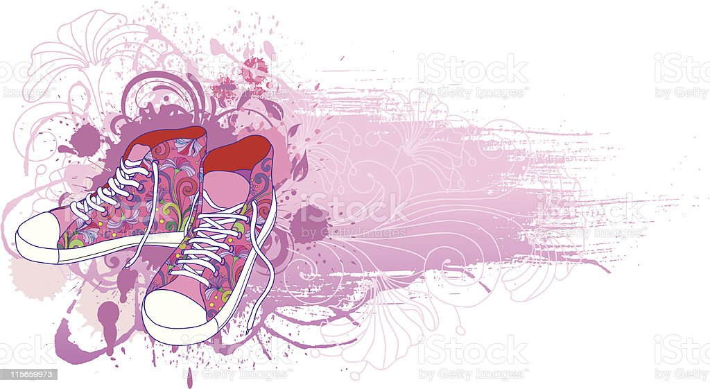 Vector sneakers, gym-shoes. royalty-free stock vector art
