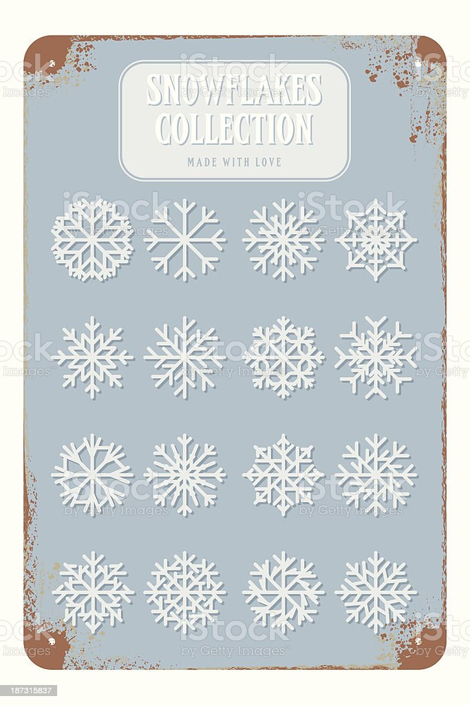 vector snowflake design on rusty metal placard royalty-free stock vector art