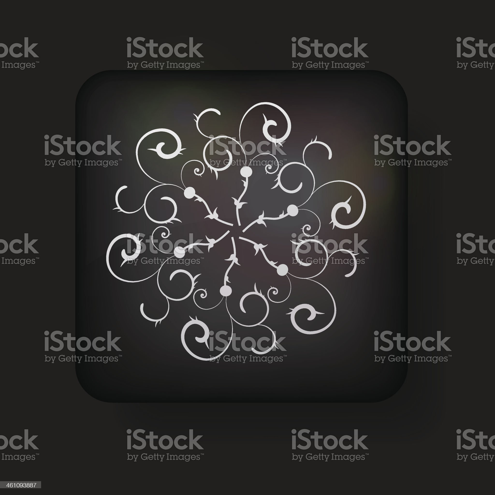 Vector snowflake icon on black background. Eps 10 royalty-free stock vector art