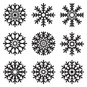 Vector snowflakes set on white background, winter icons
