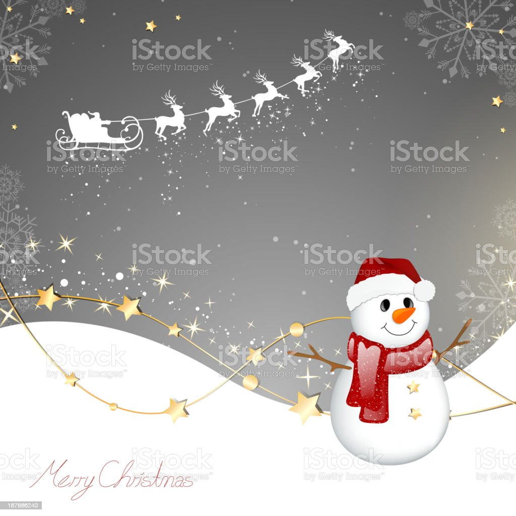 Vector Snowman in Winter Landscape royalty-free stock vector art