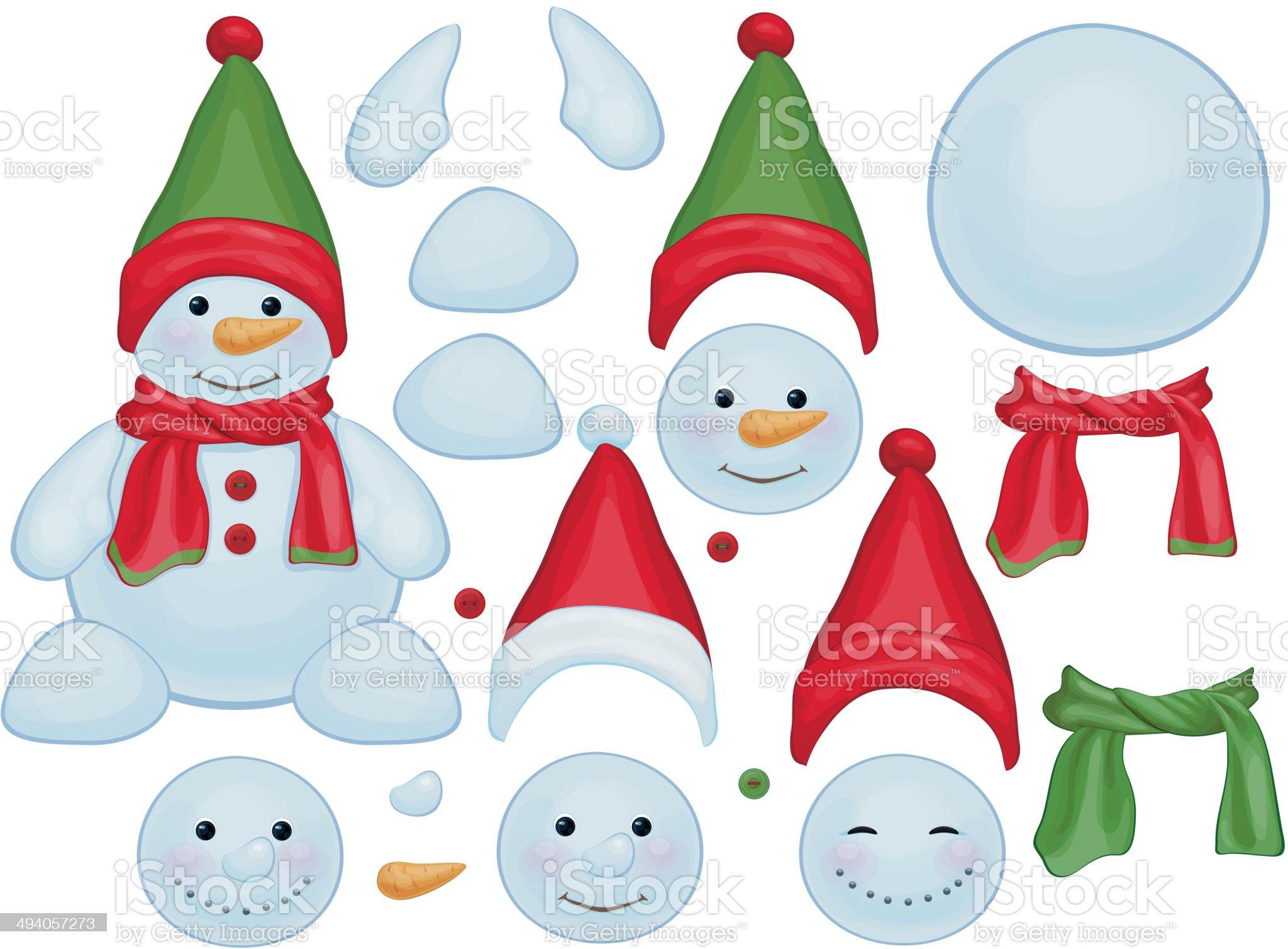 Vector snowman template, make own snowman. royalty-free stock vector art