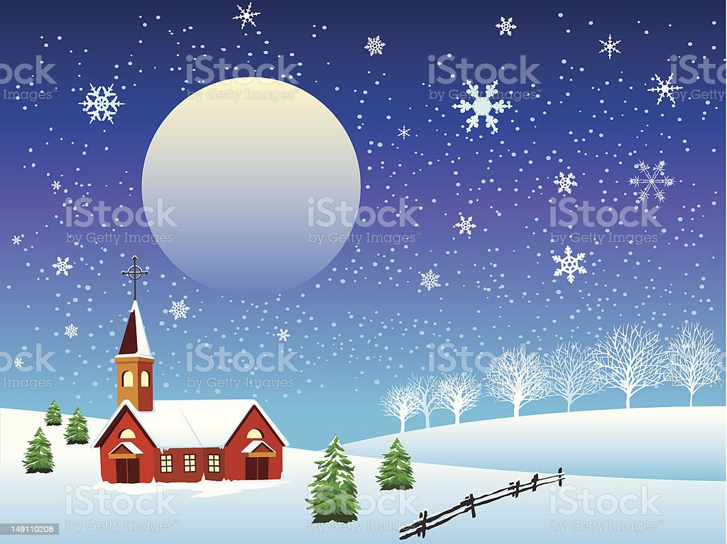 Vector snowy winter night royalty-free stock vector art