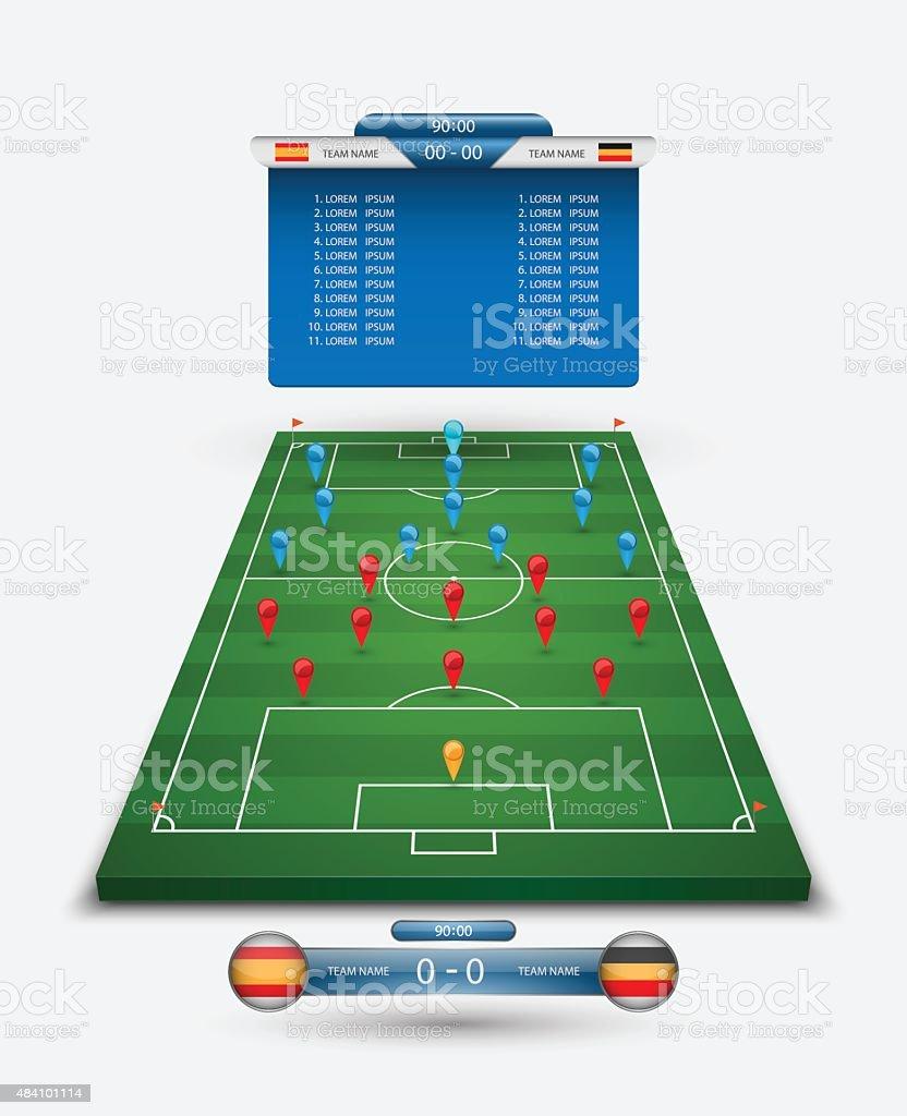 vector soccer field with scoreboard,vector vector art illustration