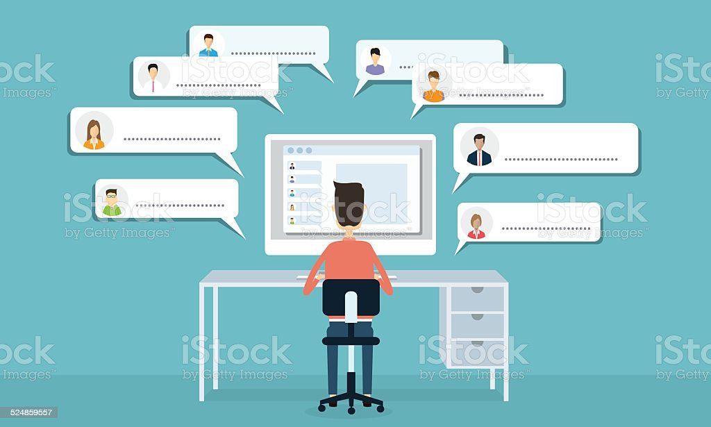 Vector social network communication and business connection vector art illustration