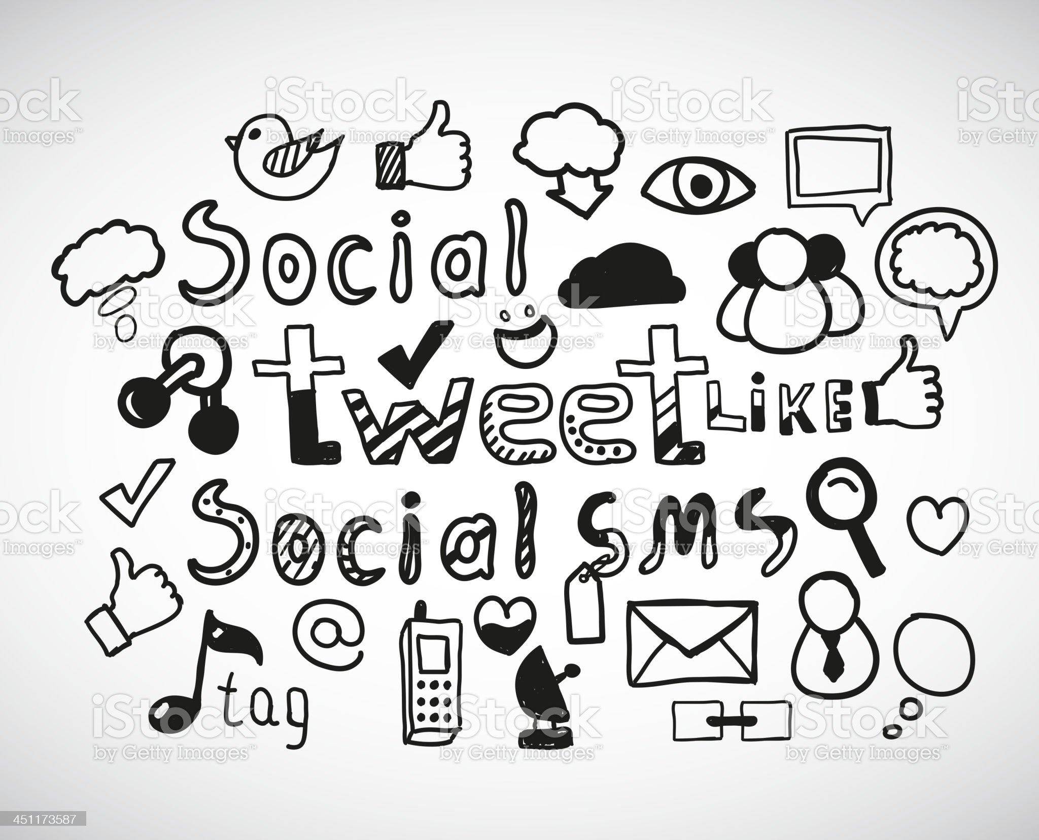 Vector social network doodles royalty-free stock vector art