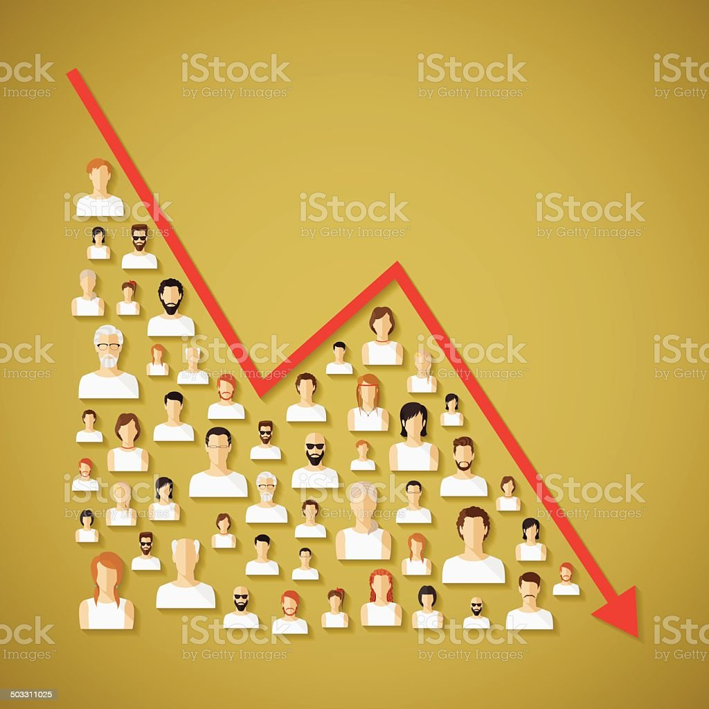 Vector social network population and demography decline concept. vector art illustration