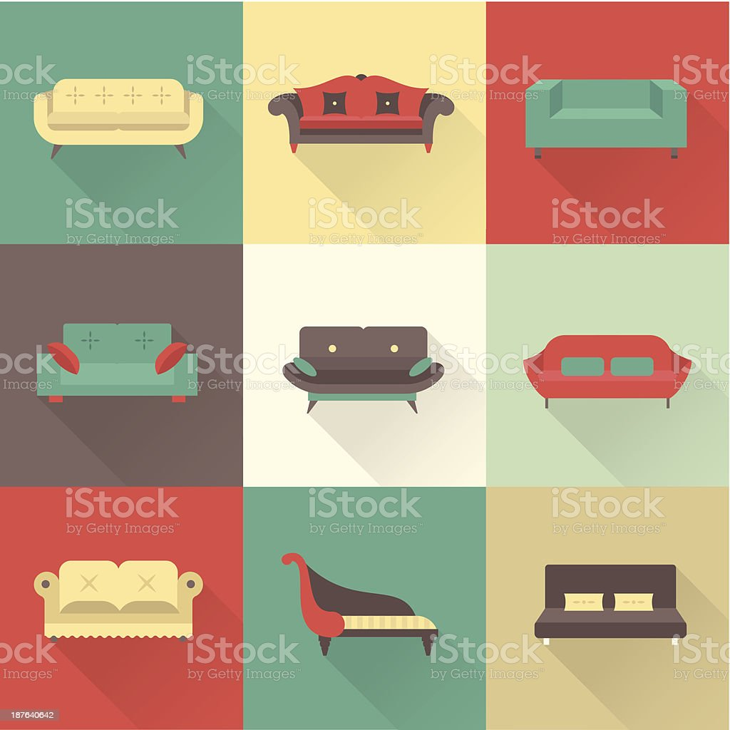 Vector sofa icons vector art illustration