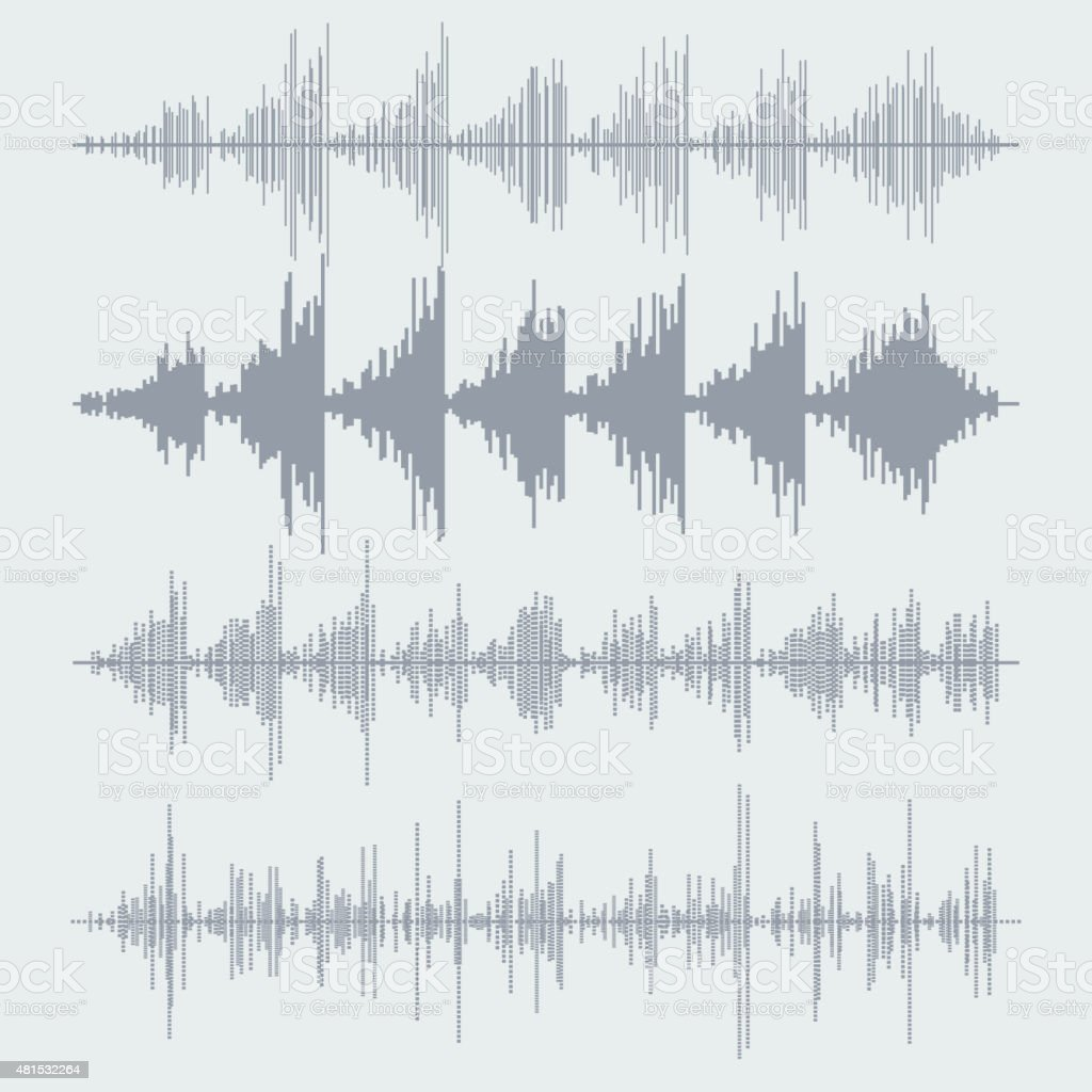 Vector sound waves set. Audio equalizer technology, pulse musical. Vector vector art illustration