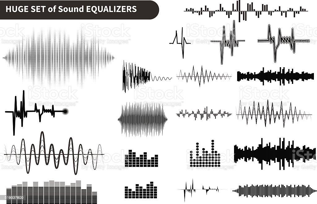 Vector sound waves set. Audio equalizer technology, pulse musical illustration vector art illustration