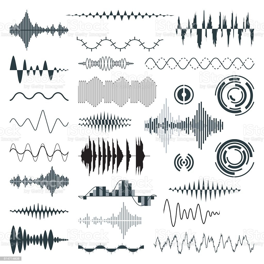 Vector Sound Waves Set. Audio vector art illustration