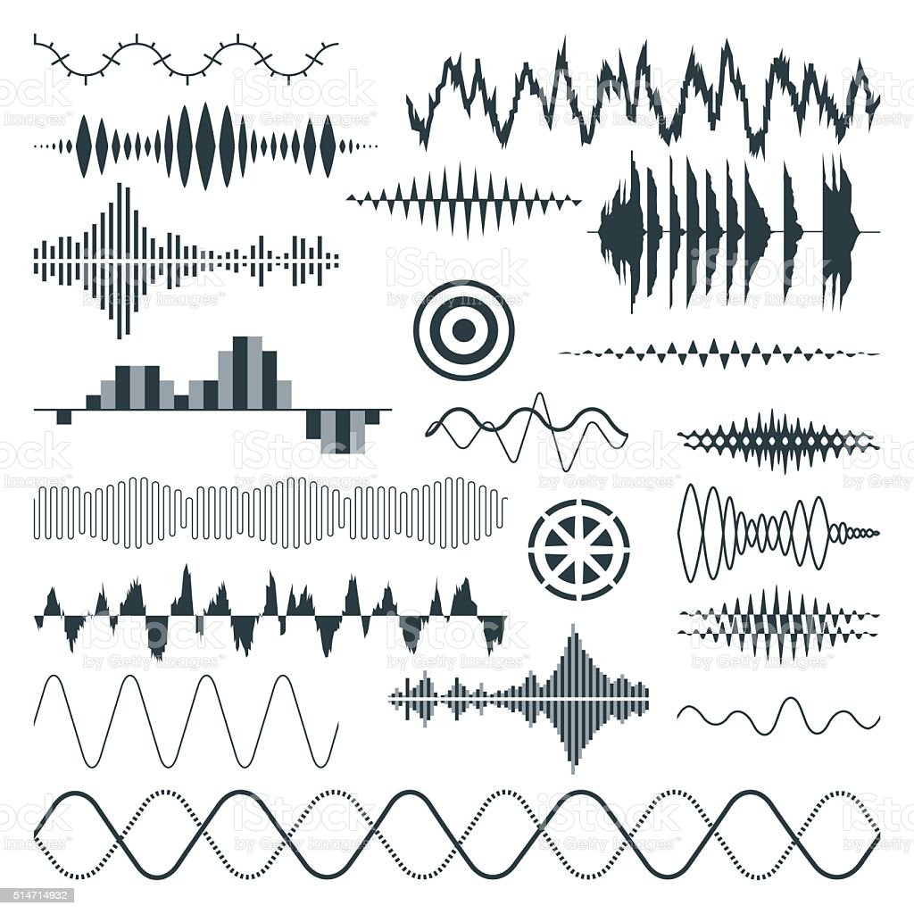 Vector Sound Waves Set. Audio vector art illustration