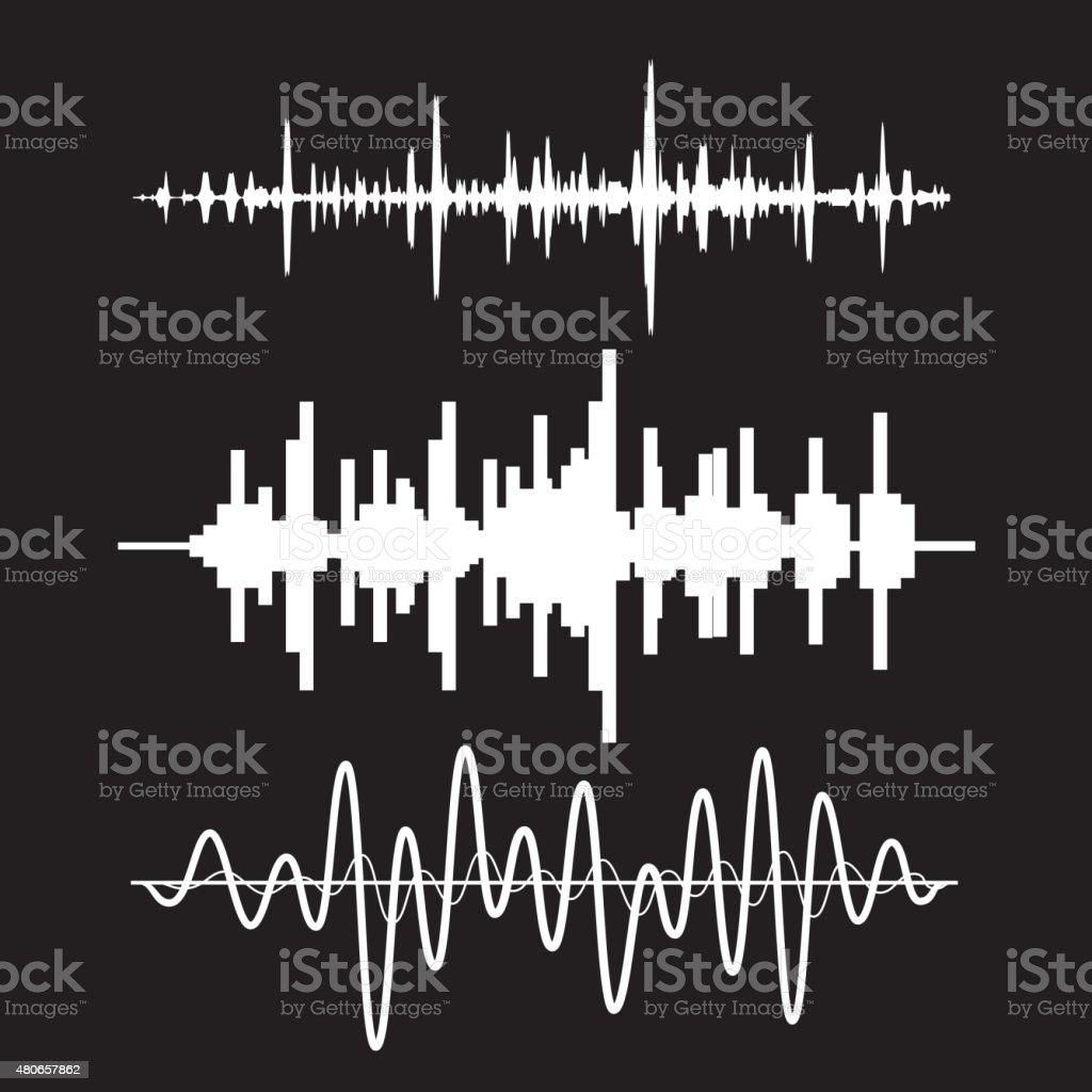 Vector sound waves set on black background vector art illustration