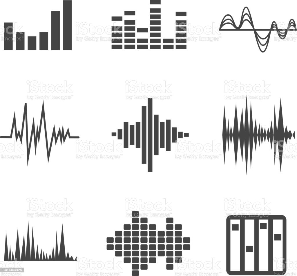 Vector sound waves set vector art illustration
