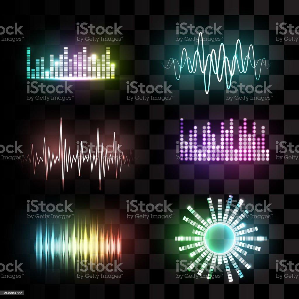 Vector sound waves set. vector art illustration