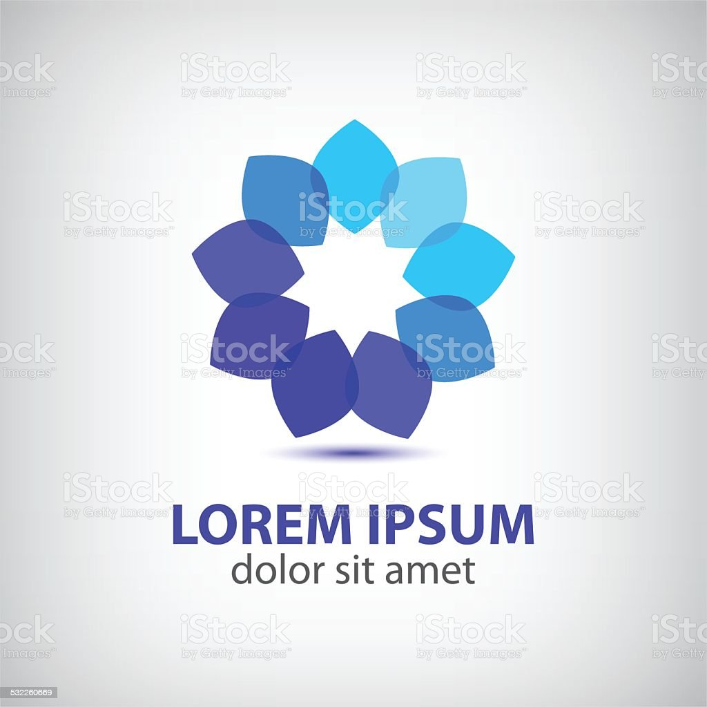 vector spa leaf flower blue abstract icon vector art illustration