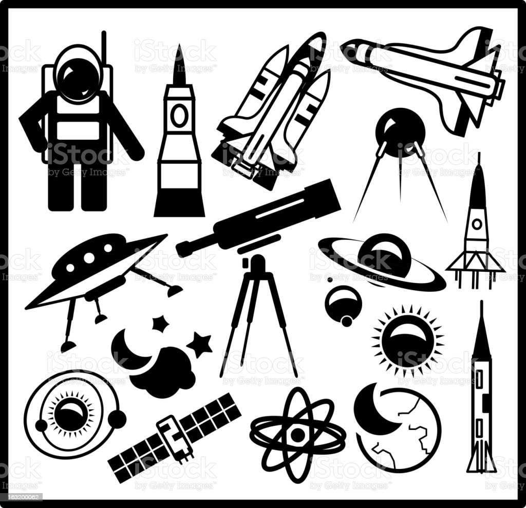 Vector space icons royalty-free stock vector art