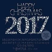 Vector sparkling Happy Christmas greeting card