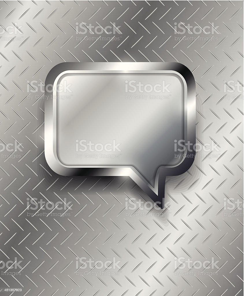 Vector speech bubble on metal background royalty-free stock vector art