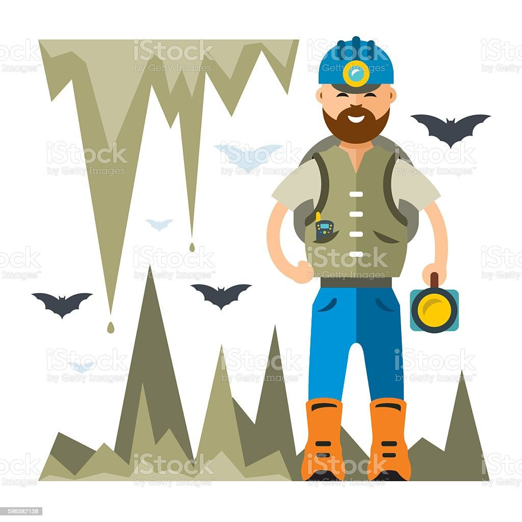 Vector Spelunker. Flat style colorful Cartoon illustration. vector art illustration