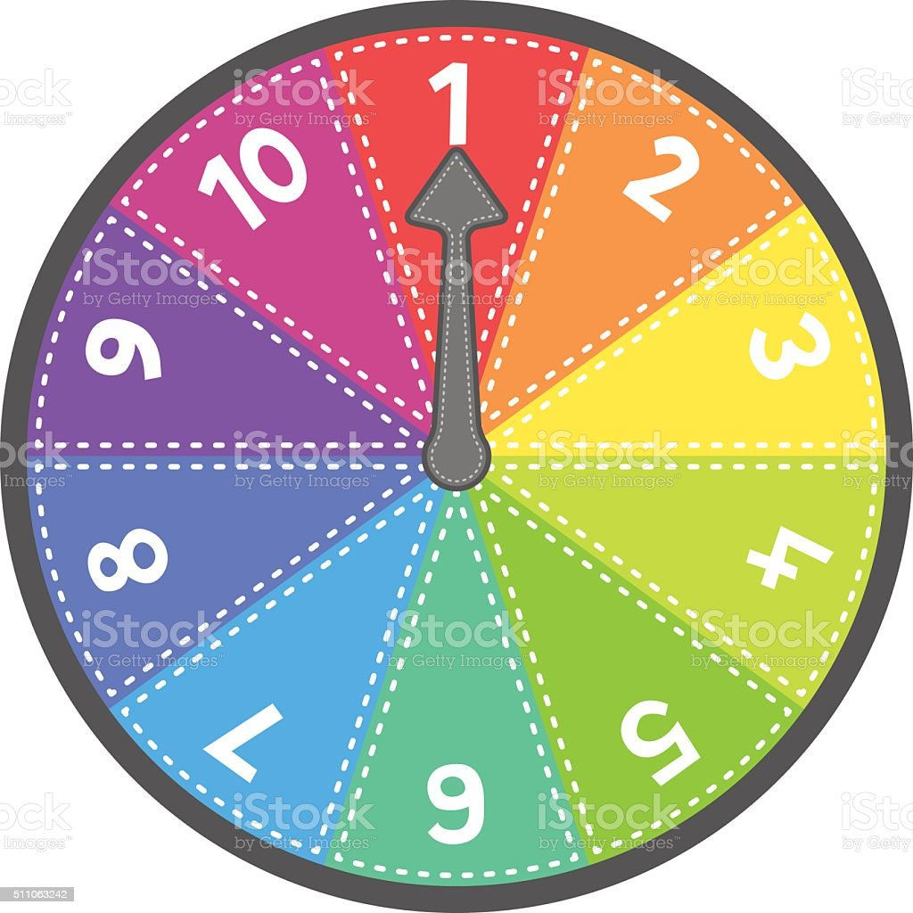 Vector Spin Wheel Game With Numbers 1-10 vector art illustration