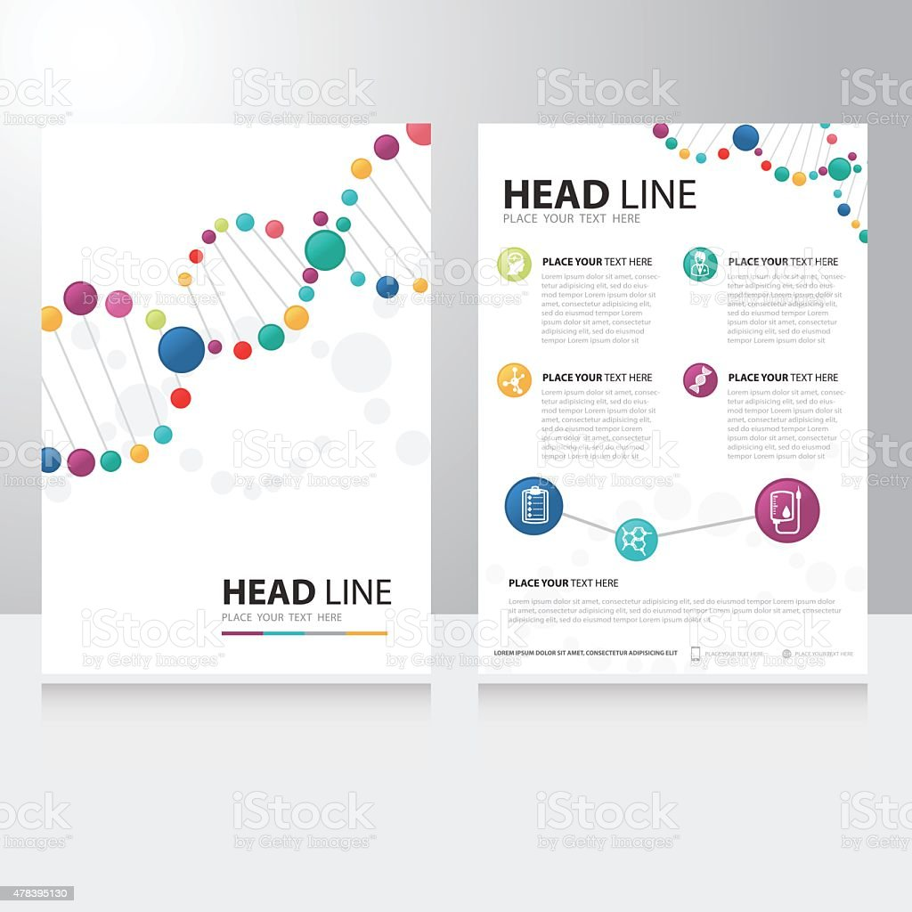 Vector spiral helix dna and science technology Brochure Flyer design vector art illustration