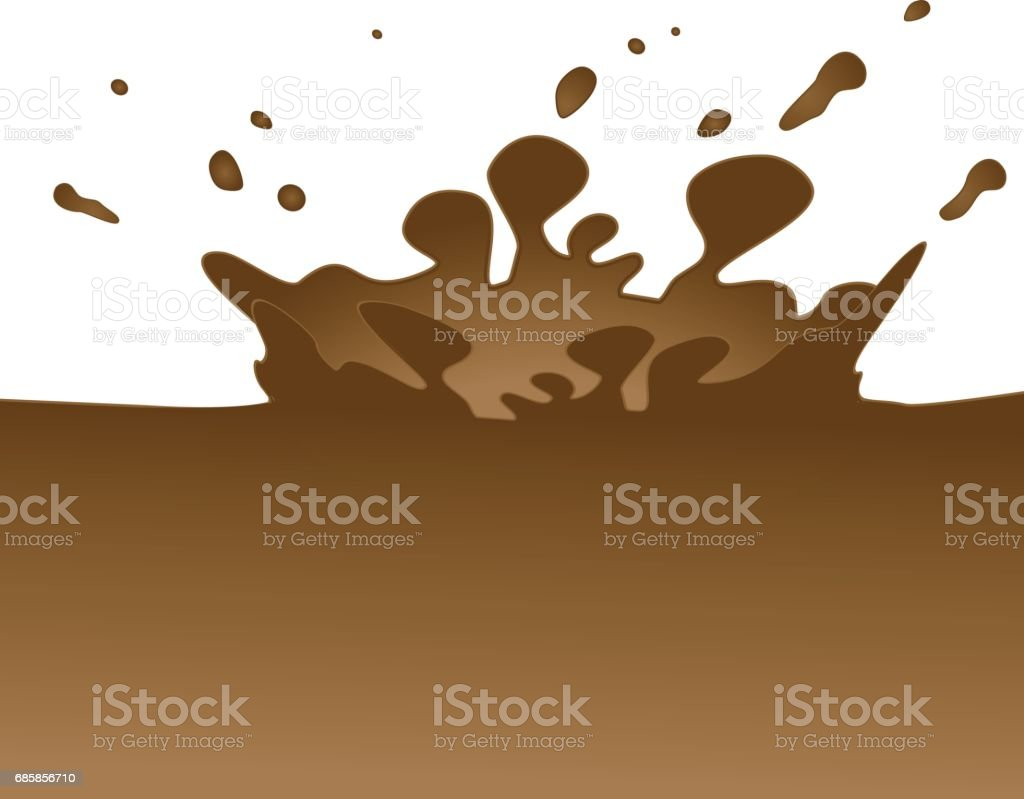 Vector splashing of milk chocolate vector art illustration