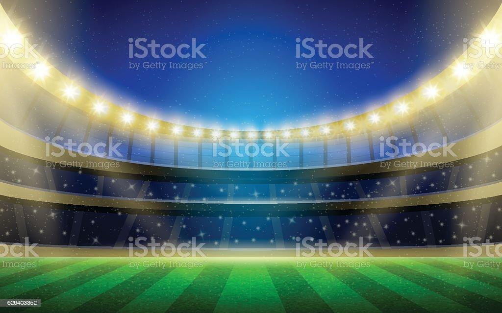 Vector sports stadium illustration with grass field, stands and lights. vector art illustration