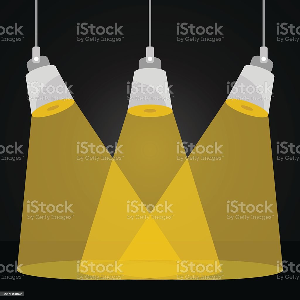 Vector spotlights at scene. Scene lighting, stage illumination Vector illustration vector art illustration