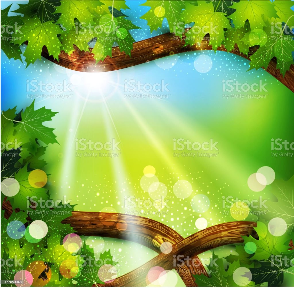 Vector spring background with trees and sun royalty-free stock vector art