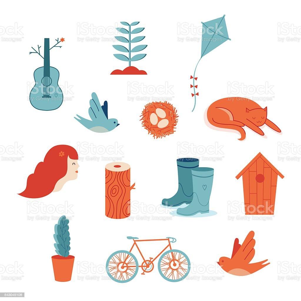 Vector spring icons vector art illustration