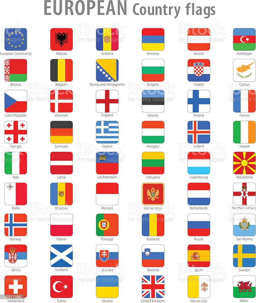 Vector Square Europe National Flags vector art illustration