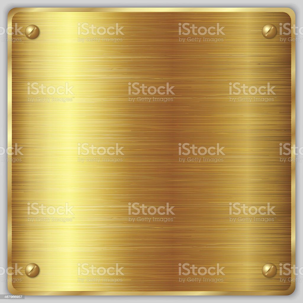Vector square gold metallic plate with screws vector art illustration
