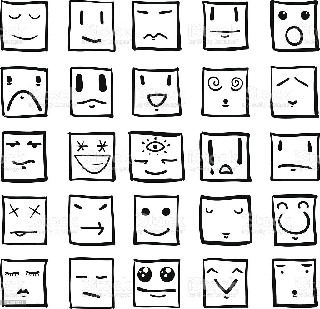 Vector Square Heads With Expressions vector art illustration