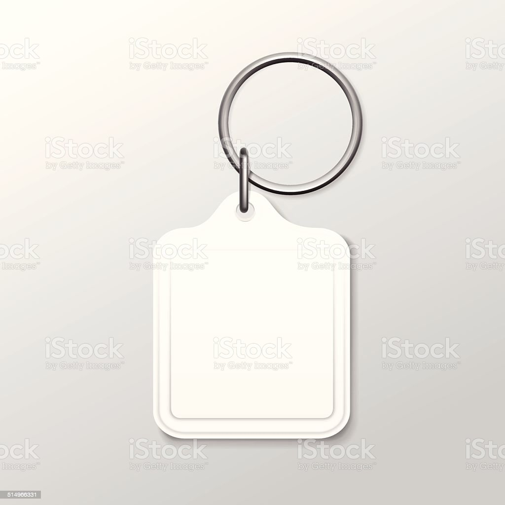 Vector Square Keychain with Ring and Chain Isolated on White vector art illustration