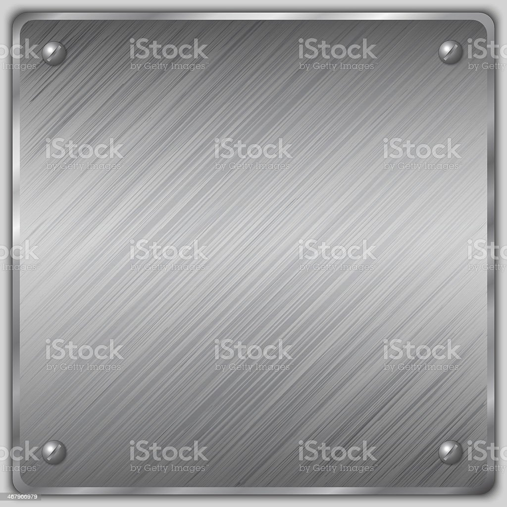 Vector square of a steel plate with screws vector art illustration